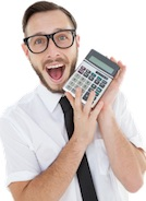 Audiobook Production Guy Holding Calculator